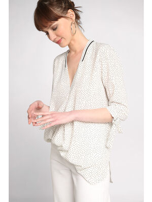 Blouse manches 34 a noeuds blanc femme