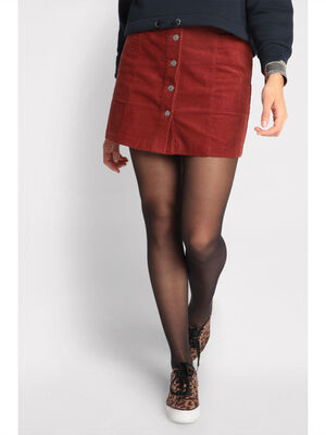 Jupe evasee boutonnee velours rouge fonce femme