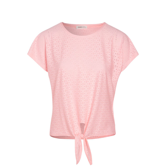 T-shirt manches courtes rose fluo femme