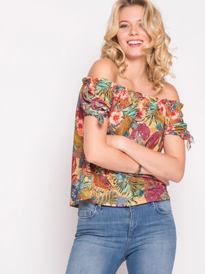 Top manches nouees multicolore femme