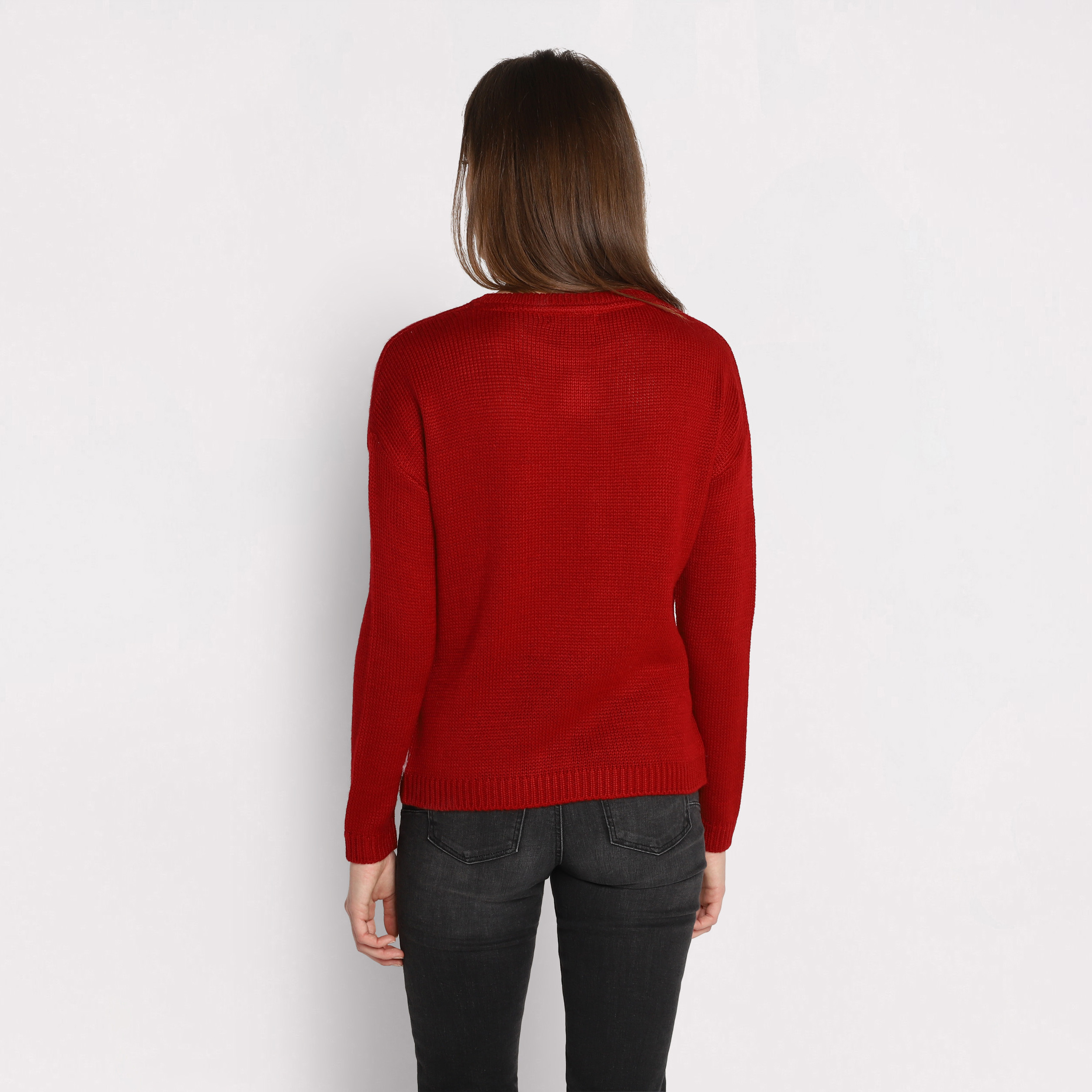 cache cache ou breal pull rouge femme