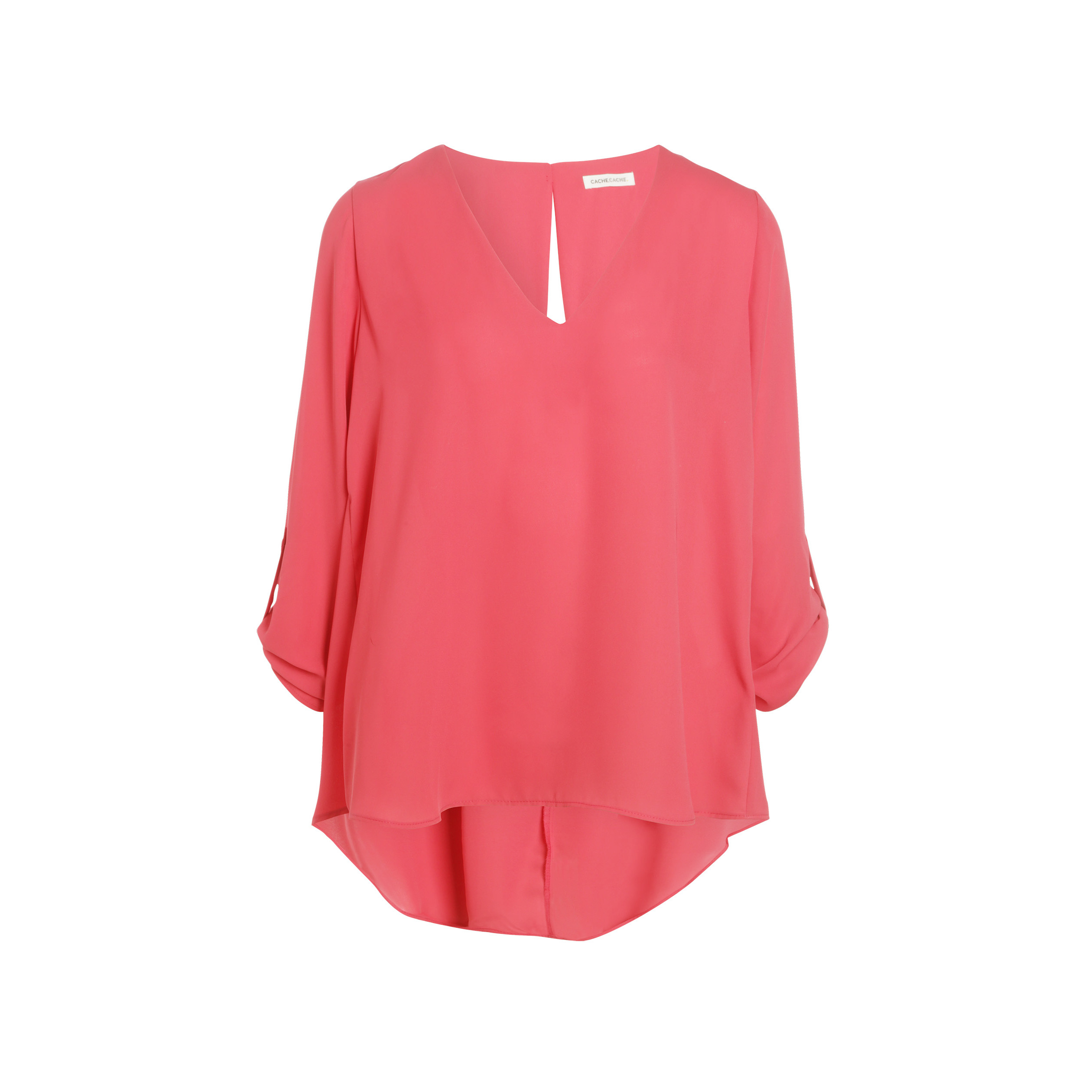 V Blouse Rose Longues Femme Col Framboise Manches dxBeCWro